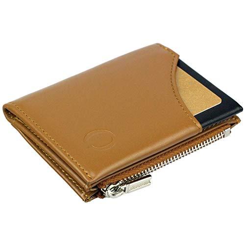 Cartera pequeña con Monedero para Hombre - Billetera de Piel con Tarjetero RFID y Monedero con Cremallera, Regalos para Hombre, marrón/Negro
