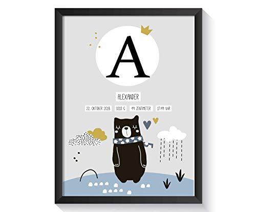 Personalisiertes Geschenk zur Geburt für Baby Jungen ohne Bilderrahmen | verschiedene Motive | A4 Kunstdruck Kinderzimmer