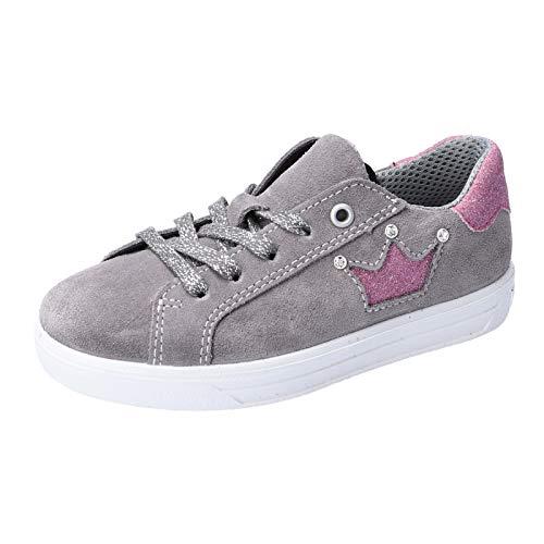 RICOSTA Kinder Low-Top Sneaker Milli, Weite: normal, schnürschuh sportschuh Kinder Kids Maedchen Kinderschuhe toben Spielen,Graphit,34 EU / 2 UK