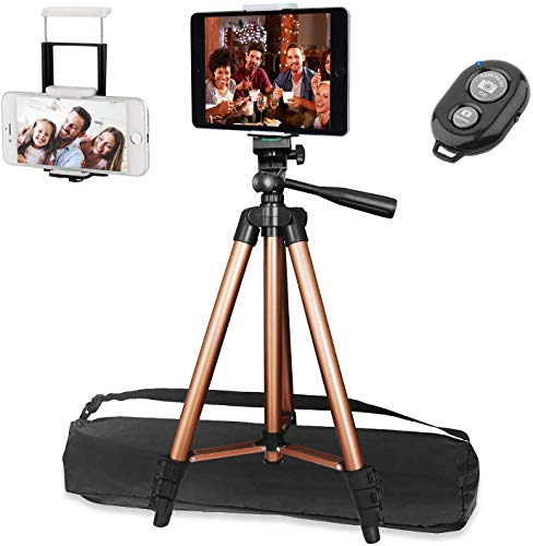 """Photo of 50″ Ipad Tripod, PEYOU Phone Tripod Stand for Tablet Phones Camera with 2 In 1 Phone & Tablet Holder, Remote Control Compatible for iPad Pro 9.7""""/10.5""""/11""""/12.9""""/iPhone 11/12 Pro,12 Pro Max"""