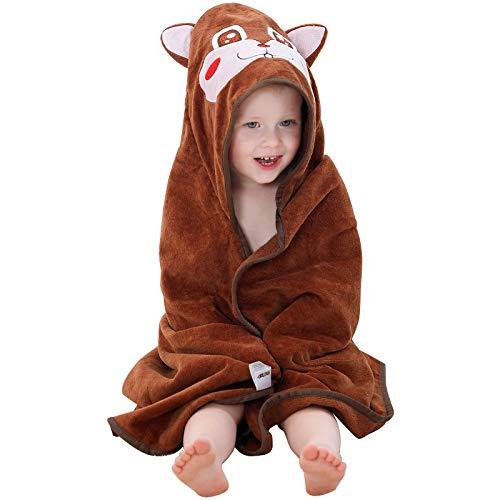 MICHLEY Toalla Baño Bebe 90cm*90cm Algodón Toalla infantil con Divertida Capucha para 0-6 años Niño y Niña Marrón