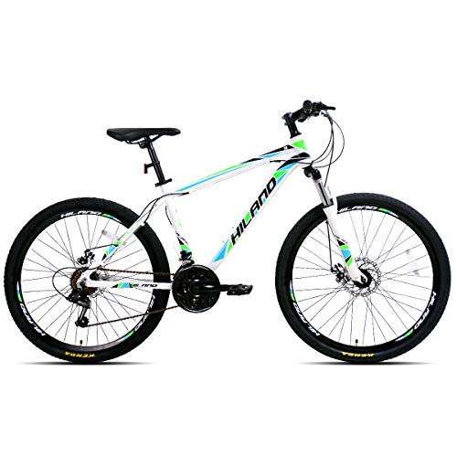 Hiland 26 Inch Mountain Bike Aluminum MTB Bicycle with 17 Inch Frame Kickstand Disc-Brake Suspension Fork Cycling Urban Commuter City Bicycle White Green