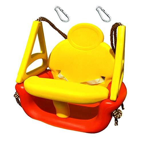 h2i Babyschaukel Comfort drei teilig mit Haltegurt und Haltebügel incl. Karabiner zum Einhängen Farbe Rot - Gelb