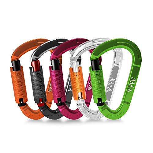 FVW Auto Locking Rock Climbing Carabiner Clips, 5 Pack 25KN (5620 lbs) Heavy Duty Caribeaners for Rappelling Swing Rescue & Gym etc, Large D-Shaped Carabiners, (Mix Color)