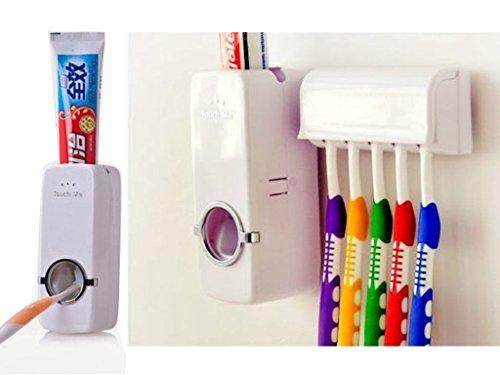 Fineway. Dispensador automático de Pasta de Dientes con Soporte de Pared para cepillos de Dientes, apriete de Pasta de Dientes con 5 cepillos, dispensador de Pasta de Dientes para Ducha, Lavabo