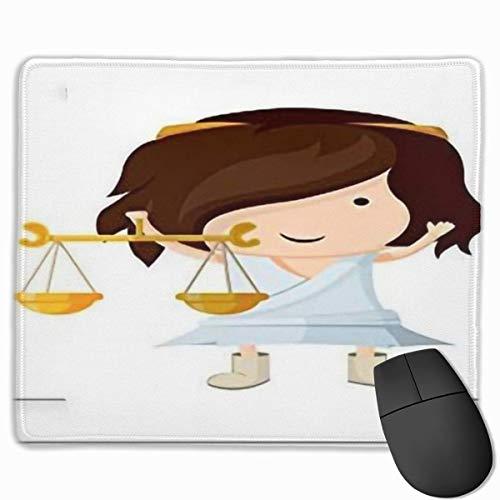 Muiskussen, Desk Mousepad,Zodiac Weegschaal Cartoon van Een Meisje met Griekse Kleding Mythologische Inspirationspale Perzik Goudsbloem Bruin