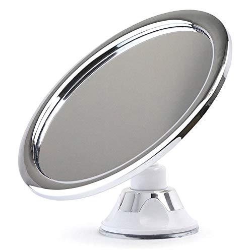 Domeilleur Rasierspiegel Duschspiegel Kosmetikspiegel mit Saugnapf, 360 Spiegel Kleiner Beschlagfreier Duschspiegel aus erchromtem Metall, runder Rasierspiegel für Bad und Dusche, silberfarben