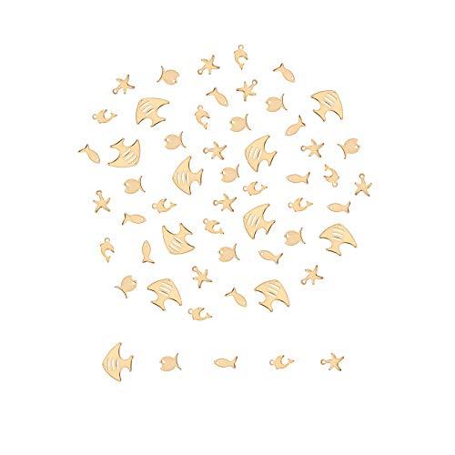 UNICRAFTALE 50個 5種 混合形状チャーム 304ステンレス製金属ペンダント 魚 海豚 ヒトデ 海洋シリーズ 可愛い ゴールデン メタルチャーム 垂れ飾り ネックレスパーツ ジュエリー作り ネックレスブレスレットイヤリング用 アクセサリーパーツ