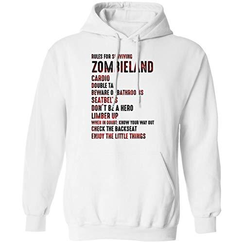 Rules For Surviving Zombieland Hoodie - Sweatshirt - Long Sleeve Shirt, L, Hoodie / White