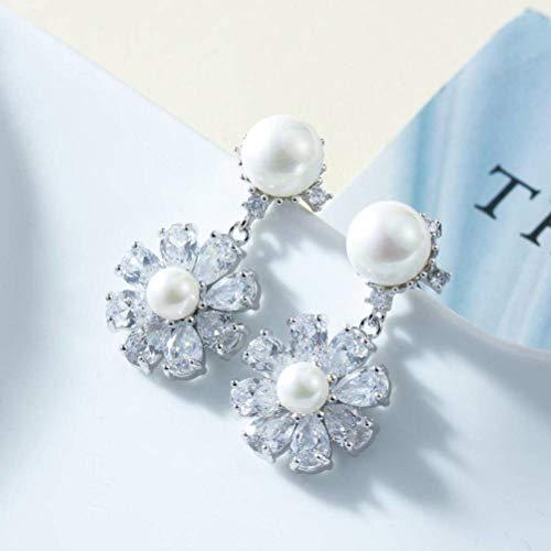 LOt Estilo Coreano S925 Aguja de Plata Perla Temperamento Oreja Mini Flor Grandes Pendientes de Flores Personalidad Moda Pendiente de Gotaplata