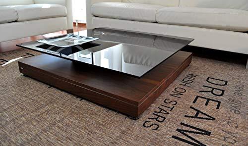 Design Couchtisch Tisch V-570 Nussbaum/Walnuss getöntes Glas Carl Svensson