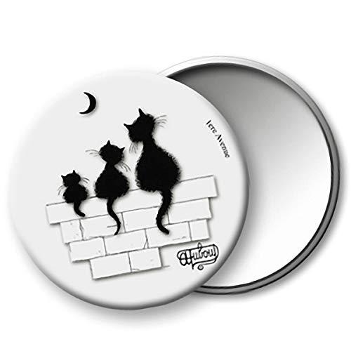 Chats Dubout [Q6324] - Miroir de poche 'Chats Dubout' blanc noir (Trio) - 75 mm