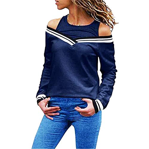 NLZQ Women's t Shirt Sexy Deep V-Neck Long Sleeve Color Matching T Shirts Casual Tops Loose and Comfortable Spring, Summer and Autumn New Outdoor Fashion Elegant All-Match XXL