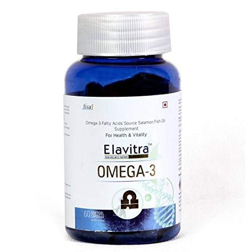 ELAVITRA'S OMEGA-3 Fish Oil Triple Strength 1000mg (330mg EPA; 220mg DHA; 7.5mg Vitamin E) – Natural Formula Support Joints And Heart Health (60 Soft Gel Capsules)