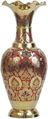 Amazon Com Elegant Indian Enameled And Etched Solid Brass Vase 24 Tall Home Kitchen