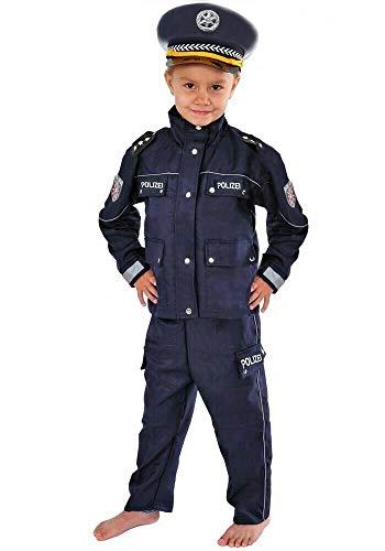Polizei Kinder Kostüm 122-128 blau für Fasching Karneval Polizist