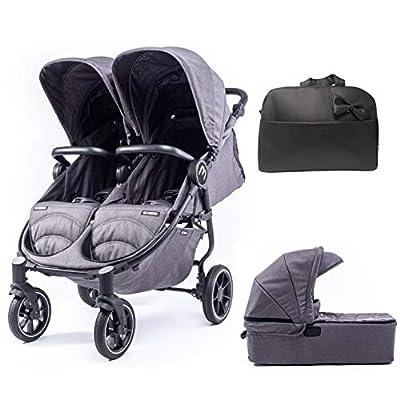 Silla Gemelar Easy Twin 4 Chasis Negro + 1 Capazo Baby Monsters Plástico de Lluvia y Barras Frontales incluidas Color Texas