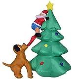 Elikliv 1.8m Inflable Árbol de Navidad Hinchable Decoración Perro Bocados Santa Clausblow Hasta Adornos Juguete Para Navidad Césped Exterior favor de Fiesta Navidad