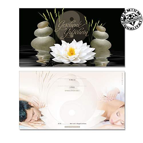 50 hochwertige Gutscheinkarten Geschenkgutscheine. Gutscheine für Massagepraxis Physiotherapie Wellness Spa. Vorderseite hochglänzend. MA1229