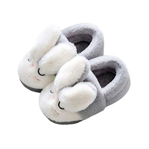 DEBAIJIA Kleinkindschuhe 1-5T Baby First-Walking Kid Hausschuhe Weiche Sohle rutschfeste Baumwolle Netter Hase 26 EU Grau(Etikettengröße 19)