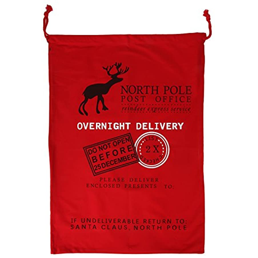 Personalized Cotton Canvas Santa Sack 27.5 X 19.6 Inches Drawstring Christmas Bags for Christmas Presents by Arad. (RED)