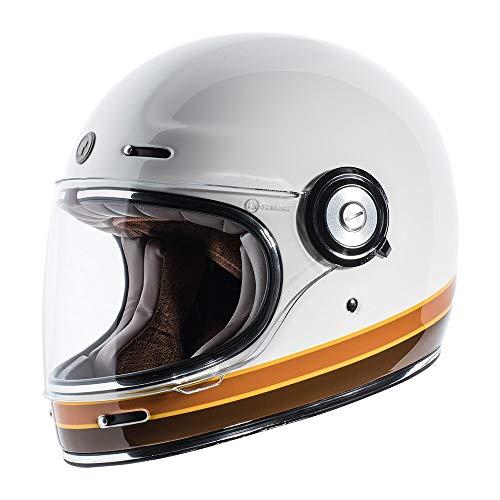 TORC Unisex-Adult T102ISO23 Retro Fiberglass Full-Face Style Motorcycle Helmet with Graphic (ISO Bars Gloss White, Medium), 1 Pack