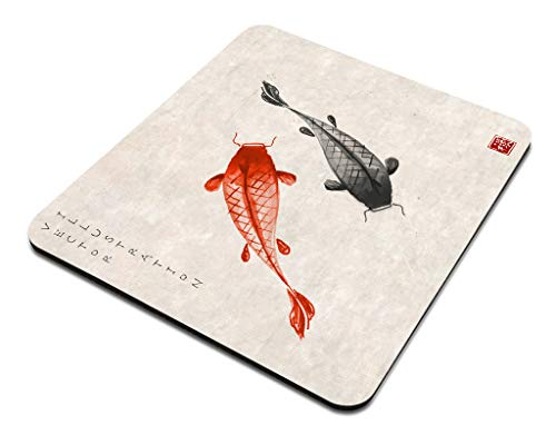 Amcove Office Desk Accessories,Red and Black koi carps Hand Drawn with Ink in Traditional Japanese Mouse Pad, Office Decor for Women, Office Gifts, Desk Decor Photo #5