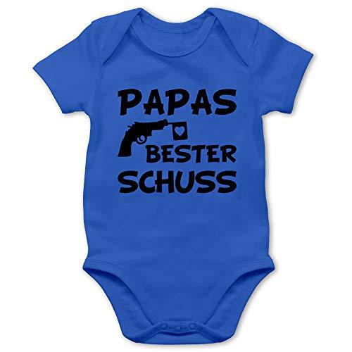 Vatertagsgeschenk Tochter & Sohn Baby - Papas Bester Treffer - 3/6 Monate - Royalblau - Kinder Kleidung Papa - BZ10 - Baby Body Kurzarm für Jungen und Mädchen