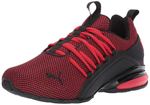 PUMA Men's Axelion Mesh Wide Cross-Trainer, highriskred-Black, 10.5 W US