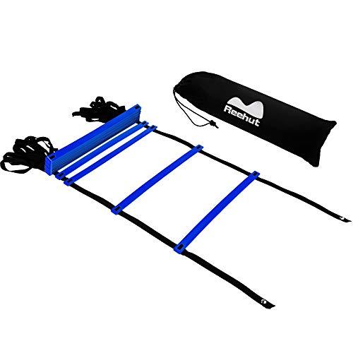 REEHUT Escaleras Velocidad de fútbol Escalera de Agilidad con Bolsa para Llevar - Equipo de Entrenamiento de Velocidad para Trabajo de pies de Alta Intensidad (Azul, 12 peldaños)