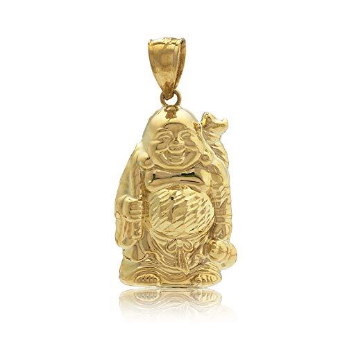 LoveBling 10K Yellow Gold Happy Buddha Full Body Diamond Cut Charm Pendant (1.54' x .81')