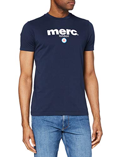 Merc of London Brighton T-Shirt Camiseta, Azul Marino, L para Hombre