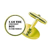 私はamthe最強の少年 スタッズビジネスシャツメタルカフリンクスゴールド