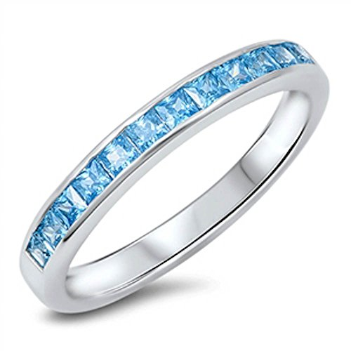 Oxford Diamond Co Simulated Aquamarine Princess Cut Eternity Band .925 Sterling Silver Ring Size 8