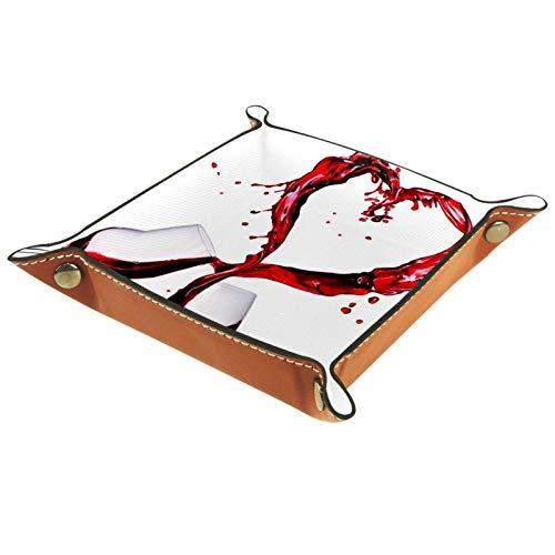 YATELI Caja de Almacenamiento pequeña, Bandeja de Valet para Hombre,Vasos de Vino Rojo Corazones de Piel,Organizador de Cuero para Llaves de Caja de Monedas