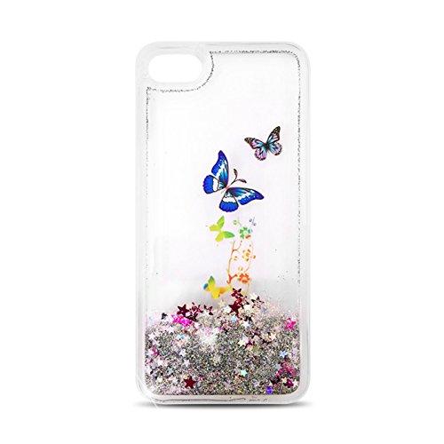 FUN CASE SILBER / SILVER Schmetterling Butterfly Für Lenovo K6 Note (Achtung! nicht für Lenovo K6 geeignet) Handy Cover Hülle Case Glitzer Sterne Flüssig Sternenstaub