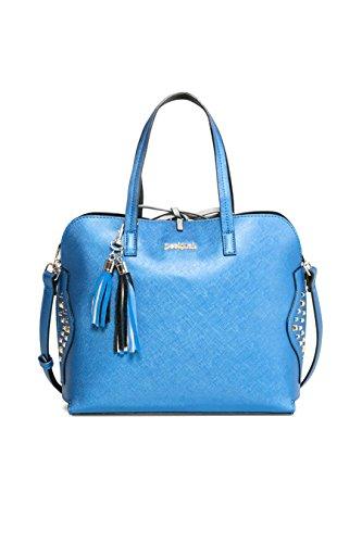 Desigual Bols Hamar Tricolor Blau Schwarz 17WAXPNE-5011Damen Handtasche Tasche Henkeltasche Schultertasche