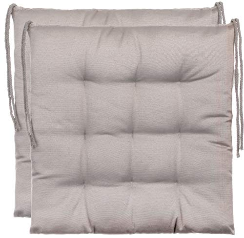 Brandsseller Decorative Chair Cushion/Garden Seat Pad Polyester 2 Package Set - Color Light Grey