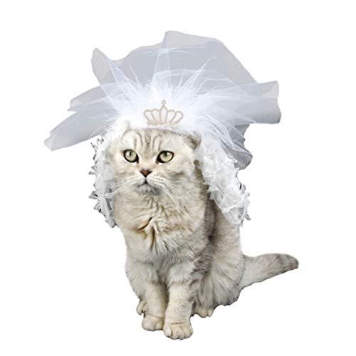 Disfraz de gato, 1 unidad, vestido de novia para mascotas, dama de honor, encaje, accesorio para mascotas, para gato, gatito (blanco, L)