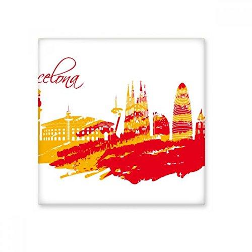 Pintado a mano Ciudad silueta rojo amarillo Barcelona crema azulejos de cerámica Art para decorar decoración de baño cocina azulejos de pared azulejos de cerámica