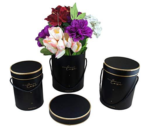 3er Set Aufbewahrungsbox   Dekobox mit Deckel   Flowerbox   Hutschachtel   Ordnungsbox   Blumenstrauß Dekoration   Geschenkbox Rund   Geschenkschachtel   Blumenbox mit Kordel l Rosenbox FarbeSchwarz