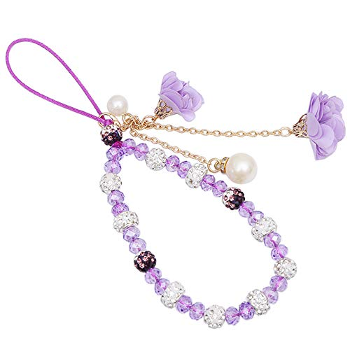 Selenite Crystal Hand Wrist Lanyard with Pendants of Artificial Flowers and Imitation Pearls (Purple)