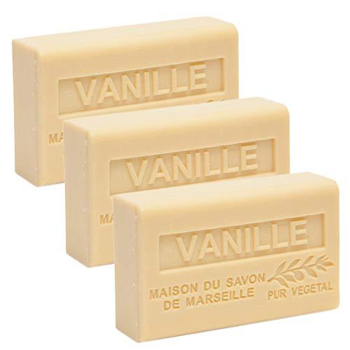 Maison du Savon - 3er-Set Seifen mit Sheabutter, Vanille, 3x125 g