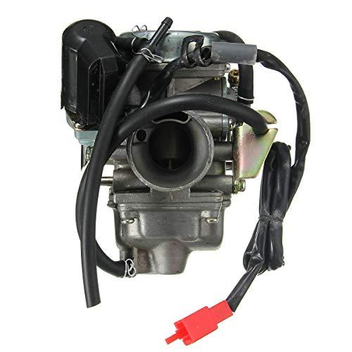 XIANGL Motorycle Motor Carbureor Cepillo de Carbono Reemp Tanque de 24 mm GY6 150cc 150 Carburador con múltiple de admisión Scooter Moped Carb Carbureretor