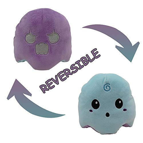 MOGOLD Cute Flipped Luminous Ghost Doll Double face Expression can be Flipped Pumpkin Plush Toy 101010cm (Purple+Blue)