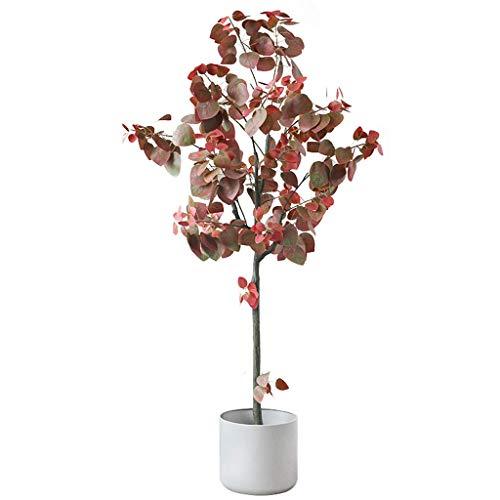 ZJHCC 150cm Árbol de Hoja de Manzana Artificial Planta Artificial roja Casi Natural Planta de Maceta Planta Verde Grande Bonsai Planta de decoración de Sala de Estar Interior