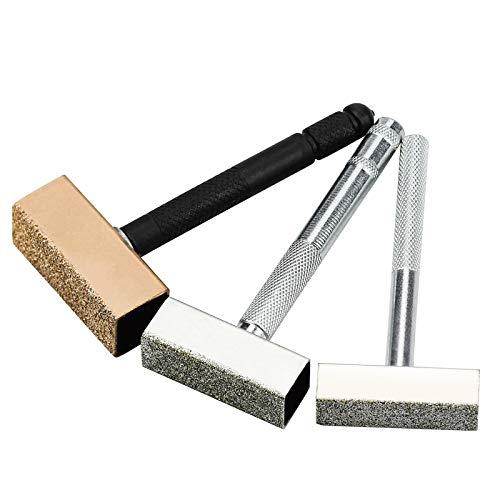 Winfred 3 Pcs Aparadores de Muelas Herramienta, Rectificador de Muelas, Muela Abrasiva de Aparador, Aparador de Muelas Abrasivas para Rectificar y Desbarbar Ruedas, Color Dorado, Plata