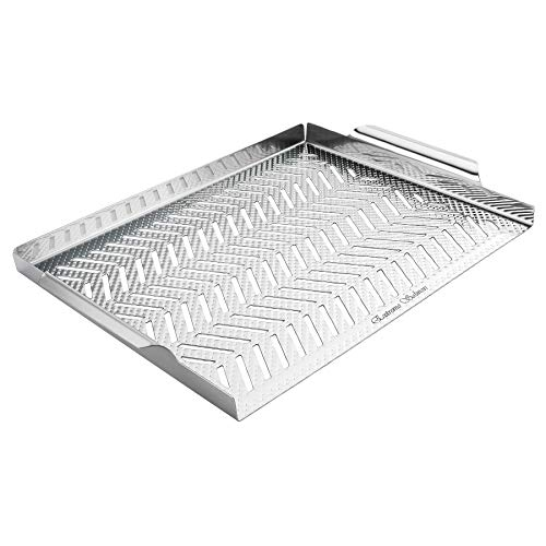 Extreme Salmon BBQ Grill Pan for Vegetables, Embossed Stainless Steel Grill Topper Pan with Handles Professional Grill Cookware Grill Accessories for Barbecue Grills Outdoor Cooking