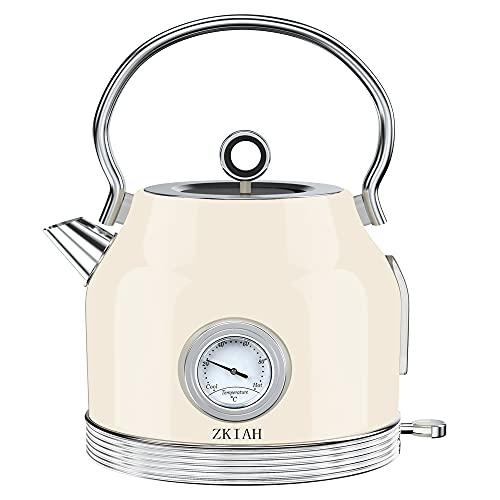 ZKIAH Wasserkocher mit Thermometer 1,7L 220V 2200W, Retro Edelstahl Wasser Teekocher mit Kalkfilter, Automatische Abschaltung Kochtrockenschutz, Vintage Wasserkocher (Beige)