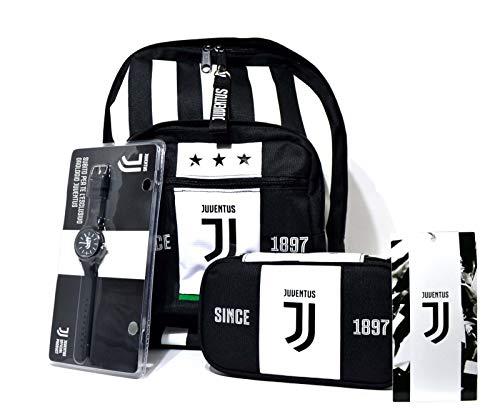 SEVEN SPA F.C. Juventus - Schoolpack Juventus League - Zaino Americano + Astuccio Scuola Quickcase + Orologio + Gadget Ufficiale (Easybag)